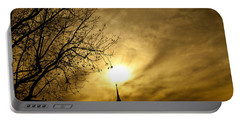 Portable Battery Charger featuring the photograph Church Steeple Clouds Parting by Jerry Cowart