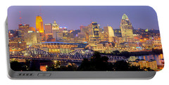 Cincinnati Skyline At Dusk Sunset Color Panorama Ohio Portable Battery Charger