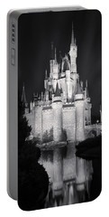 Cinderella's Castle Reflection Black And White Portable Battery Charger