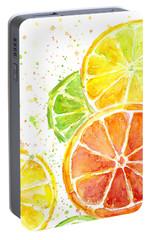 Citrus Fruit Watercolor Portable Battery Charger by Olga Shvartsur