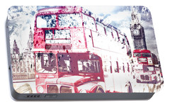 City-art London Red Buses On Westminster Bridge Portable Battery Charger by Melanie Viola