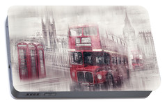 City-art London Westminster Collage II Portable Battery Charger by Melanie Viola