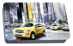 City-art Times Square II Portable Battery Charger by Melanie Viola