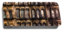 City Brownstones Portable Battery Charger by Diane Diederich