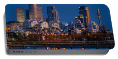 city lights and blue hour at Tel Aviv Portable Battery Charger by Ron Shoshani