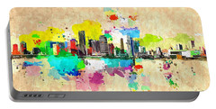 City Of Miami Grunge Portable Battery Charger by Daniel Janda