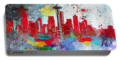 City Of Seattle Grunge Portable Battery Charger by Daniel Janda