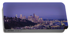 City Skyline At Dusk, Seattle, King Portable Battery Charger by Panoramic Images