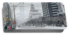 City In Winter Portable Battery Charger by Yvonne Wright