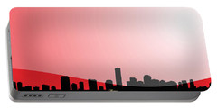 Cityscapes - Miami Skyline In Black On Red Portable Battery Charger