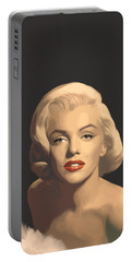 Classic Beauty In Graphic Gray Portable Battery Charger by Chris Consani