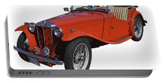 Classic Red Mg Tc Convertible British Sports Car Portable Battery Charger