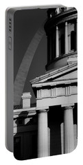 Classical Courthouse Arch Black White Portable Battery Charger