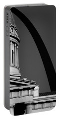 Classical Dome Arch Silhouette Black White Portable Battery Charger