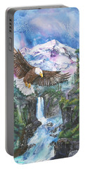 Portable Battery Charger featuring the painting Cleared For Landing Mount Baker by Sherry Shipley