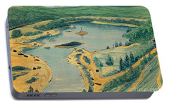 Portable Battery Charger featuring the painting Clearwater Lake Early Days by Kip DeVore