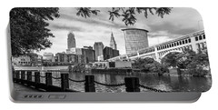 Cleveland River Cityscape Portable Battery Charger by Dale Kincaid