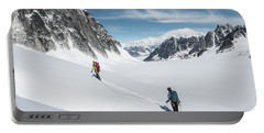 Climbing On The Pika Glacier In Denali Portable Battery Charger