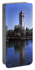 Clock Tower At Riverfront Park Portable Battery Charger