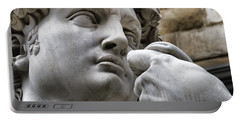 Close-up Face Statue Of David In Florence Portable Battery Charger by David Smith