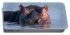 Close-up Of A Hippopotamus Submerged Portable Battery Charger by Panoramic Images