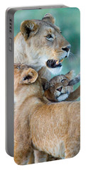 Close-up Of A Lioness And Her Two Cubs Portable Battery Charger