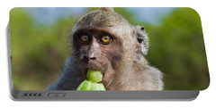 Closeup Monkey Eating Cucumber Portable Battery Charger