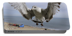 Closeup Of Hovering Seagull Portable Battery Charger by Richard Rosenshein