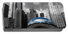 Cloud Gate B-w Chicago Portable Battery Charger by David Bearden