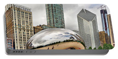 Cloud Gate In Chicago Portable Battery Charger by Mitchell R Grosky