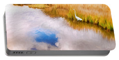 Cloud Reflection In Water Digital Art Portable Battery Charger by Vizual Studio