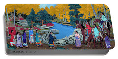 Portable Battery Charger featuring the painting Cloud Women At Thunderbird Mountain by Chholing Taha