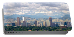 Clouds Over Skyline And Mountains Portable Battery Charger