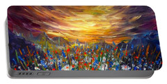 Portable Battery Charger featuring the painting Cloudy Sunset In Valley by Lilia D
