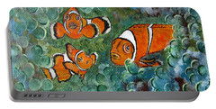 Clown Fish Art Original Tropical Painting Portable Battery Charger