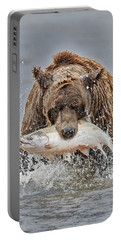 Coastal Brown Bear With Salmon IIi Portable Battery Charger