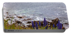 Coastal Cliff Flowers Portable Battery Charger by Melinda Ledsome