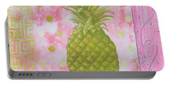 Coastal Decorative Pink Green Floral Greek Pattern Fruit Art Fresh Pineapple By Madart Portable Battery Charger by Megan Duncanson