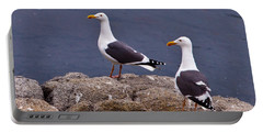 Coastal Seagulls Portable Battery Charger by Melinda Ledsome