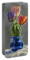 Cobalt And Tulips Still Life Painting Portable Battery Charger