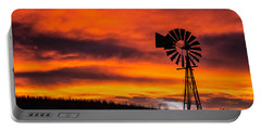 Cobblestone Windmill At Sunset Portable Battery Charger