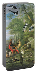 Cock Pheasant Hen Pheasant And Chicks And Other Birds In A Classical Landscape Portable Battery Charger by Pieter Casteels
