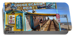 Cocoa Beach Pier In Florida Portable Battery Charger by David Smith