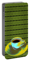 Portable Battery Charger featuring the digital art Coffee Cup Pop Art by Jean luc Comperat