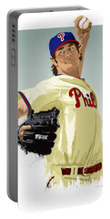 Portable Battery Charger featuring the digital art Cole Hamels by Scott Weigner
