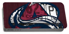 Colorado Avalanche Hockey Team Retro Logo Vintage Recycled Colorado License Plate Art Portable Battery Charger