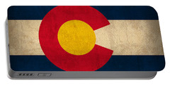 Colorado State Flag Art On Worn Canvas Portable Battery Charger