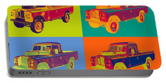 Colorful 1971 Land Rover Pick Up Truck Pop Art Portable Battery Charger by Keith Webber Jr