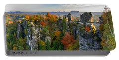 Colorful Bastei Bridge In The Saxon Switzerland Portable Battery Charger