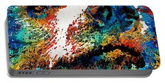 Colorful Bear Art - Bear Stare - By Sharon Cummings Portable Battery Charger